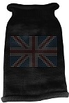 British Flag Rhinestone Knit Pet Sweater MD Black
